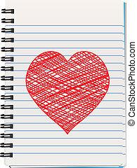 Nota con el corazón dibujado