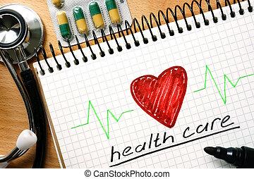 Nota con palabras concepto de salud