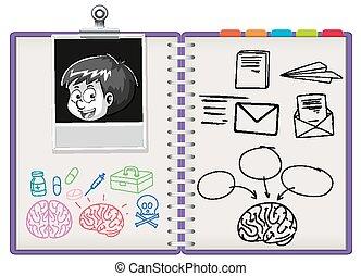 nota, cuaderno, abierto