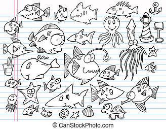 Nota de libros de dibujo del océano de verano