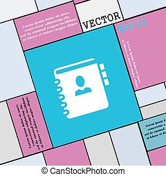 Nota, dirección, señal de icono. Estilo moderno para tu diseño. Vector