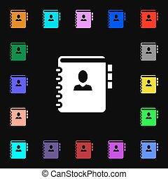 Nota, dirección, señal de icono. Muchos símbolos coloridos para tu diseño. Vector