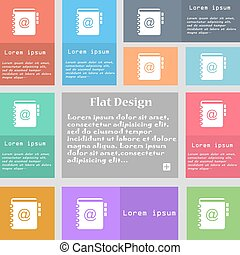 Nota, dirección, señal de icono. Un conjunto de botones multicolores con espacio para el texto. Vector