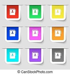 Nota, dirección, señal de icono. Un conjunto de etiquetas modernas multicolores para tu diseño. Vector