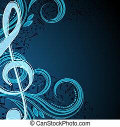 Nota el fondo del vector musical