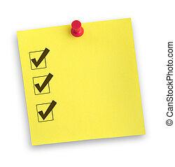 nota, lista de verificación, completado