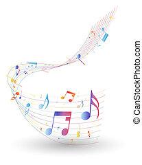 nota, multicolor, personal musical