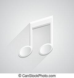 Nota musical 3D de icono en fondo blanco