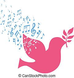 nota, musical, paloma, vuelo, paz