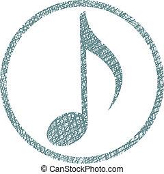 Nota musical, vector icono con textura dibujada a mano.