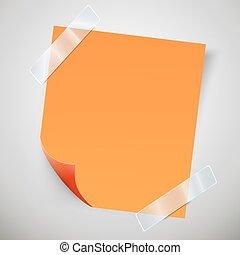 Nota naranja pegajosa con la curva y cinta adhesiva.