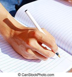 nota, niña, libro, escritura