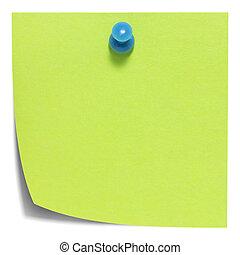 nota, sombra, cuadrado, verde, pegajoso