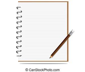 Notabook con vector lápiz