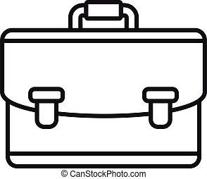 notary, maletín, icono, estilo, contorno