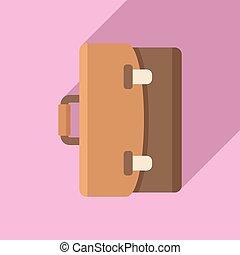 notary, maletín, plano, icono, estilo