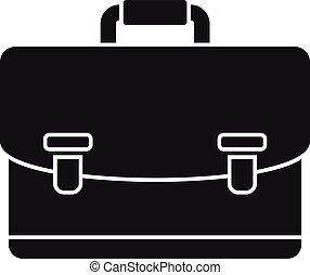 notary, maletín, simple, icono, estilo
