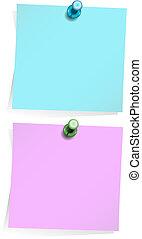 Notas adhesivas aisladas en blanco