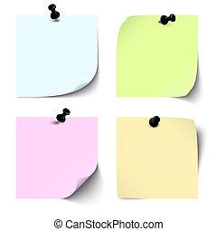 notas, blanco, coloreado, colección, pegajoso