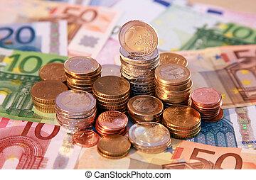 notas, coins, euro