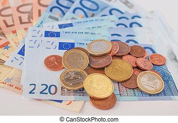 notas, coins, euros