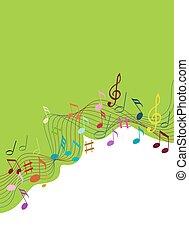 Notas de música en color sobre un fondo blanco sólido