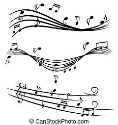 Notas de música en la escalera