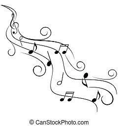 Notas de música sobre remolinos