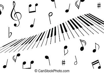 Notas de música y llaves de piano