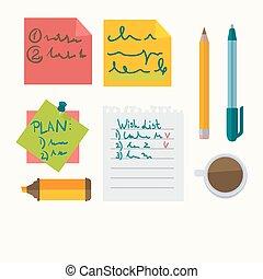 Notas de mensajes de oficina y iconos vectores de papel