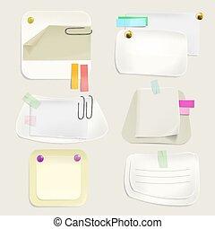 Notas de mensajes de papel en clips ilustración vectorial