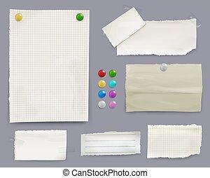 Notas de mensajes y alfileres de papel ilustran vectores