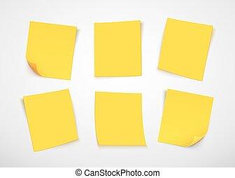 Notas de papel amarillo. Pon la nota.