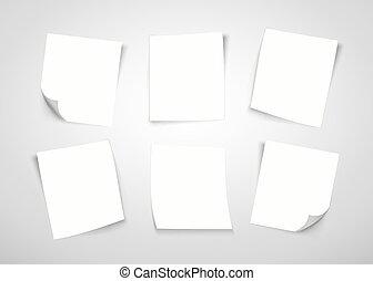 Notas de papel blanco. Pon la nota.