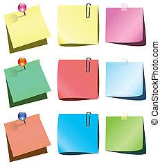 Notas de papel con alfiler