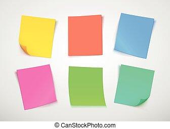 Notas de papel multicolores. Pon la nota.