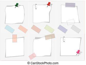 Notas de papel Vector con alfiler y clip