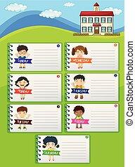 Notas de planificación semanal con niños y escuela