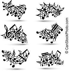 notas, estrofas, alegre, vector, fondo negro, blanco, musical