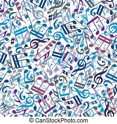 Notas musicales coloridas sin marcas.
