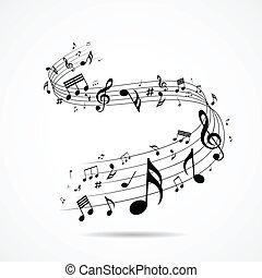 Notas musicales diseñadas aisladas