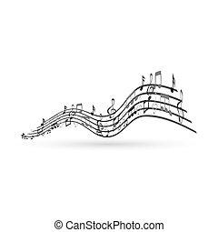 Notas musicales, elemento de diseño,