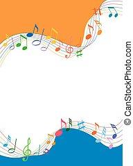 Notas musicales llenas de color sobre un fondo blanco sólido