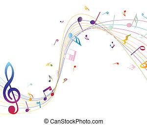 notas musicales, multicolor