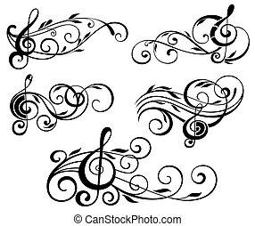 Notas musicales ornamentales con remolinos