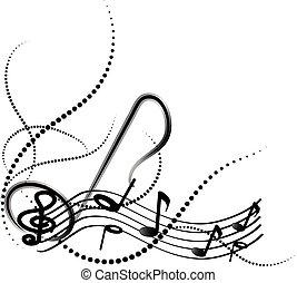 Notas musicales ornamentales con remolinos de fondo blanco