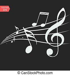 Notas musicales ornamentales con remolinos de fondo negro