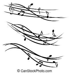 Notas musicales sobre estacas ornamentales