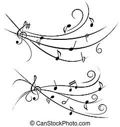 Notas musicales sobre personal ornamental