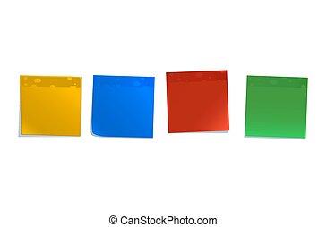 Notas pegajosas de colores aisladas en blanco